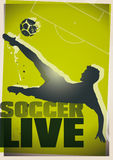 Soccer live illustration. Soccer live green text and a man kicking a ball illustration vector illustration