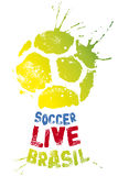 Soccer live poster. Logo from a soccer ball with type, splashes and stars royalty free stock photo