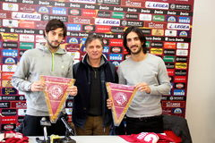 Soccer livorno presentation Sini and Morosini Royalty Free Stock Photos