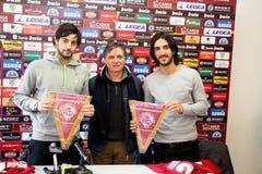 Soccer livorno presentation Sini and Morosini Royalty Free Stock Photos