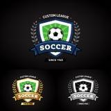 Soccer logo on black background. Green and dark blue soccer football badge logo design template, sport logotype template. Soccer Themed T shirt. Football logo Stock Photos