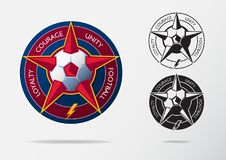 Soccer logo or Football Badge template design for football team. Sport emblem design of red star and red and white soccer ball. On navy blue shield. Football Stock Photos