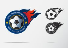 Soccer logo or Football Badge template design for football team. Sport emblem of black and white soccer ball. On navy blue shield with fire ball. Football club Stock Photos