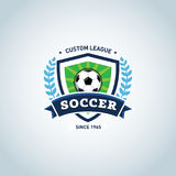 Soccer logo. Green and dark blue soccer football badge logo design template, sport logotype template. Soccer Themed T shirt. Football logo. Vector illustration Stock Image