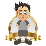 Soccer man cartoon label gold Royalty Free Stock Photo