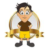 Soccer man cartoon label gold stand Royalty Free Stock Photo