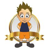 Soccer man cartoon label gold stand spike hair Royalty Free Stock Images