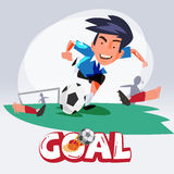 Soccer man Shooting The Ball To Make A Goal. football. character Stock Photo
