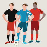 Soccer man team play football standing player ball flat drawing illustration Stock Images