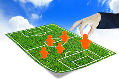 Soccer manager. Drawing a tactical plan Stock Photography
