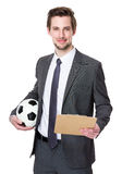 Soccer manager hold with strategy plan and soccer ball. Isolated on white background Stock Photos