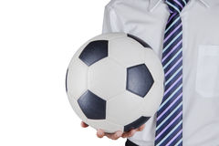 Soccer manager holding a ball 1 Royalty Free Stock Photos