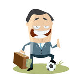 Soccer manager with money in his bag Stock Photography