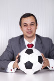 Soccer manager at the office Stock Images