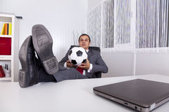 Soccer manager at the office Royalty Free Stock Photography