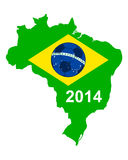 Soccer map and flag of Brazil. Detailed and accurate illustration of soccer map and flag of Brazil Stock Image