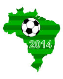 Soccer map and flag of Brazil Royalty Free Stock Images