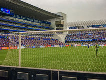 Soccer Match at George Capwell Stadium, Guayaquil, Ecuador. GUAYAQUIL, ECUADOR, NOVEMBER - 2016 - Soccer match between Emelec against Liga de Quito playing at Stock Photo
