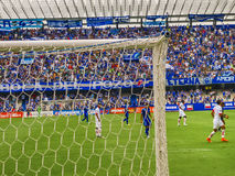 Soccer Match at George Capwell Stadium, Guayaquil, Ecuador. GUAYAQUIL, ECUADOR, NOVEMBER - 2016 - Soccer match between Emelec against Liga de Quito playing at Royalty Free Stock Photography