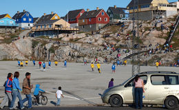 Soccer match, Greenland Royalty Free Stock Photography