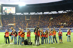 Soccer match metalist vs paok Stock Image
