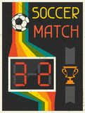 Soccer Match. Retro poster in flat design style Royalty Free Stock Photos