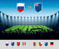 Soccer match Russia 2017 with excited crowd of people at a socce Royalty Free Stock Photos