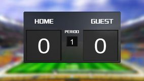 Soccer match scoreboard Draws 0 & 0. Soccer match scoreboard display the goal result with out focus stadium background Royalty Free Stock Photos