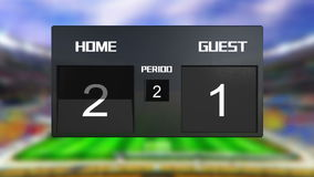 Soccer match scoreboard Draws 0 & 0 Stock Images