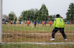 Soccer Match with selective focus Royalty Free Stock Photo