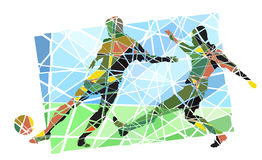 Soccer mosaic. Editable vector colorful mosaic illustration of men playing football Royalty Free Stock Photo
