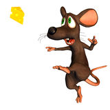 Soccer Mouse. 3d render a mouse, those with its cheese football plays in the comic Style Stock Images
