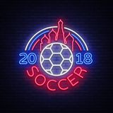 Soccer 2018 Neon Sign Vector. Football Championship design template, neon style logo, bright night signboard, light. Banner, night football advertising Royalty Free Stock Image