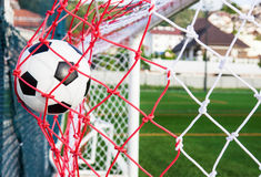 Soccer in the net Royalty Free Stock Photos