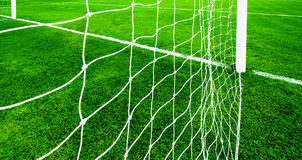 Soccer net on green grass Royalty Free Stock Image