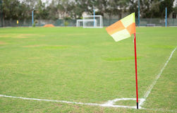 Soccer net on green grass Stock Images