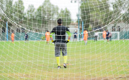 Soccer net on green grass Royalty Free Stock Photography