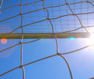 The soccer net with sun Stock Photography