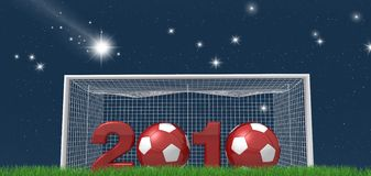 Soccer new year night version. Conceptual ,new year for the world of soccer night version -rendering stock illustration