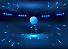 Soccer night stadium - abstract vector background Stock Photo