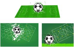 Soccer o. football illustrations. Soccer o. football field with ball and a tactics diagram grunge style, isolated, vector illustration, format illustrator eps 10 Stock Photo
