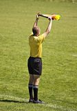 Soccer official with flag. Soccer linesman with flag signaling a player substitution Stock Photo