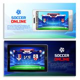 Soccer Online Broadcast Banners Royalty Free Stock Image