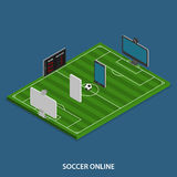 Soccer Online Vector Isometric Concept. Royalty Free Stock Images