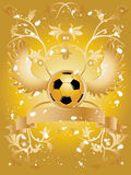 Soccer Pattern. Vector image of soccer ball with wings, ribbon for sample text and  floral pattern Stock Photo