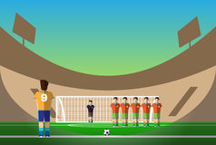Soccer penalty on football stadium Stock Image