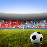 Soccer penalty kick. Soccer ball on penalty disk in the stadium Stock Image
