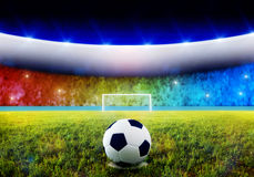 Soccer penalty kick. Soccer ball on penalty disk in the stadium Royalty Free Stock Images