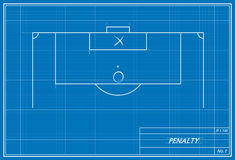 Soccer penalty kick on blueprint Royalty Free Stock Image