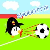 Soccer penguin super shot kick ball for child and kid cartoon illustration flat Stock Photography